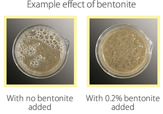 Example effect of bentonite